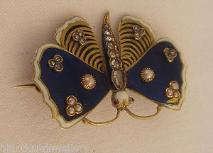 Victorian 18ct enamelled rose diamonds rubies pearls stunning butterfly brooch